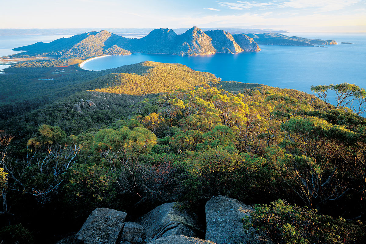 Hike to the best vantage points for view of the Hazard Mountains and Wineglass Bay in Tasmania.